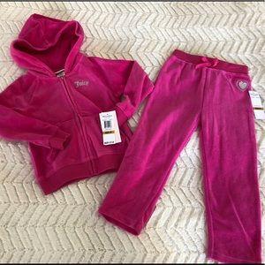 Juicy Couture Girl 2 Piece Velour Hoodie Pants 3T